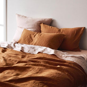 Linen Quilt Cover - Tobacco - Queen - Mandi at Home