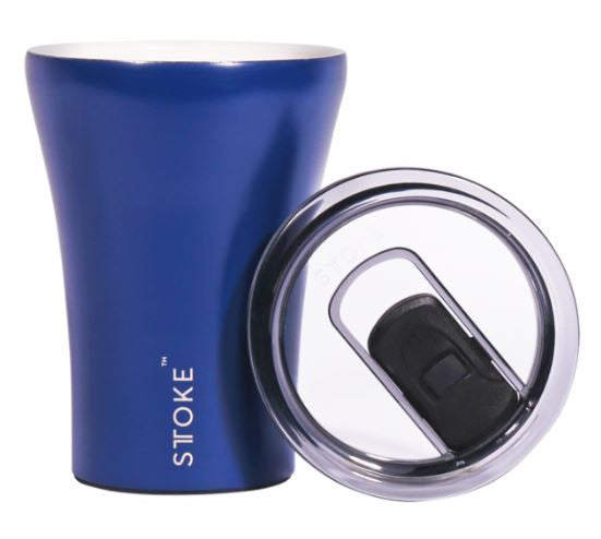 Sttoke Ceramic Reusable Coffee Cup - Magnetic Blue 12oz/354ml - Mandi at Home