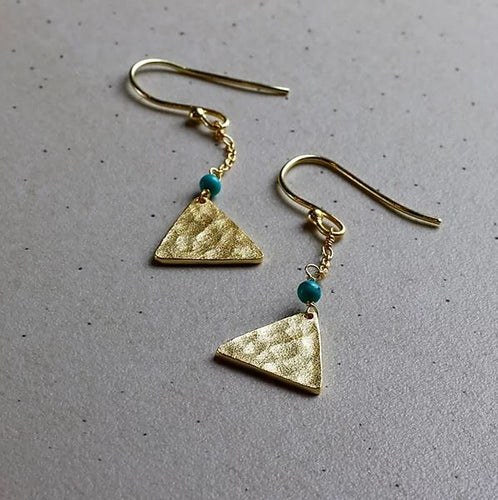 Finders and Makers - Mandisa Turquoise and Hammered Gold Earrings - Mandi at Home