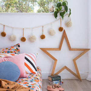 Mega PomPom Garland - Natural & Rust. - Mandi at Home