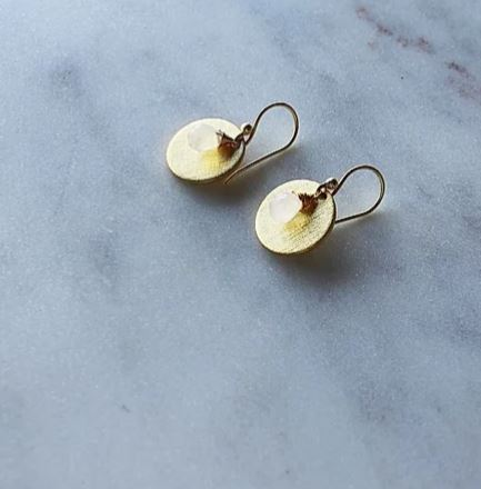 Finders and Makers - Newfound Moonstone Earrings - Gold Plated - Mandi at Home
