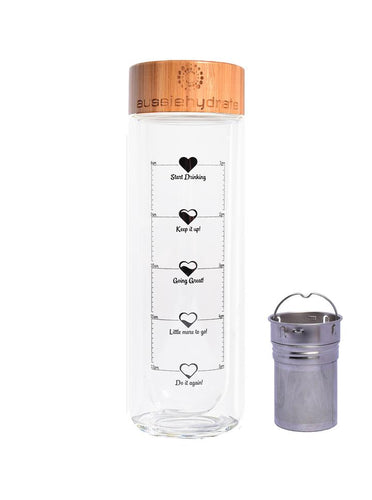 The Pacific Double Walled Glass Bottle with infuser - Mandi at Home