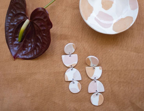 Paloma Earring - Peach Terrazzo - Mandi at Home