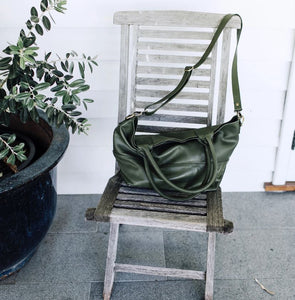 Paris Leather Tote Bag - Army - Bahru Leather - Mandi at Home