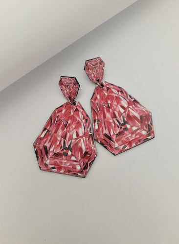 Pink Diamond illustration Drop Earrings - Medium - Mandi at Home