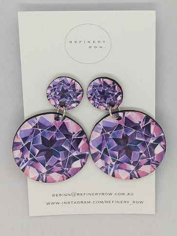 Pink Garnet Illustration Drop Earrings - Medium - Mandi at Home