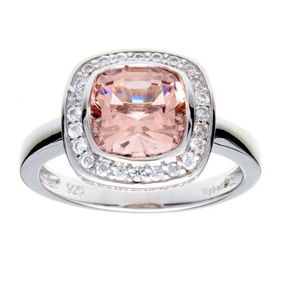 Phoebe Pink & White Cubic Zirconia Silver Ring