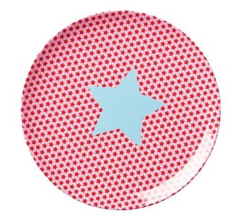 RICE - Melamine Lunch Plate in Pink Star Print. - Mandi at Home