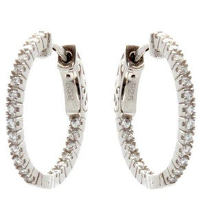 Rhodium 20mm CZ Hoop Earrings - Mandi at Home