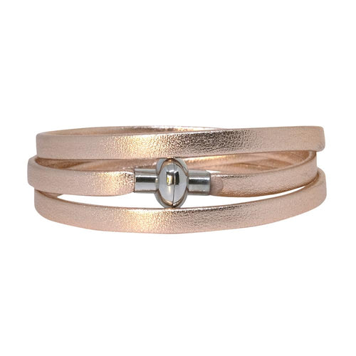 Leather Rainbow Wrap Bracelet - Rose Gold - Mandi at Home