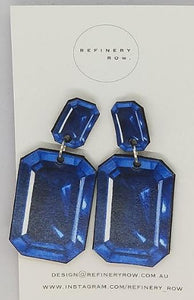 Australian Sapphire Illustration Drop Earrings - Medium - Mandi at Home