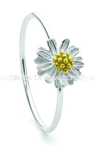 Silver and Yellow Gold Chamomile Ring - Mandi at Home