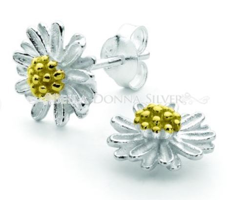 Chamomile Silver and Gold Studs - Mandi at Home