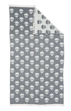 Load image into Gallery viewer, Knotty Turkish Towel - Skull - Charcoal - Mandi at Home
