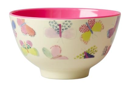 RICE - Melamine Small Bowl Two Tone with Butterfly Print Pink - Mandi at Home
