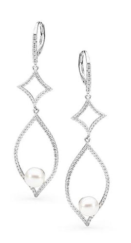 Sterling Silver Freshwater Pearl Cubic Zirconia Earrings - Mandi at Home