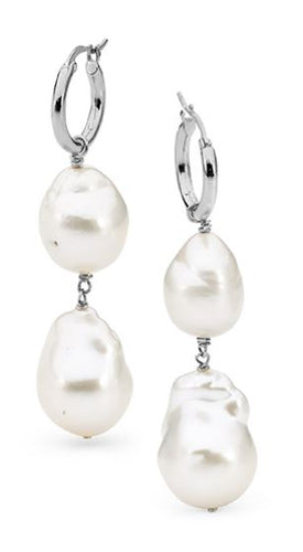 Sterling Silver White Nucleated Pearl Hoop Earrings - Mandi at Home