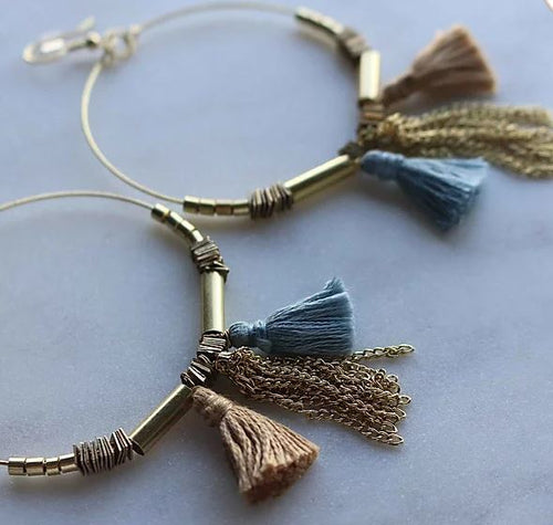 Finders and Makers - Tassle Hoops Earring - Gold and Sky Blue - Mandi at Home