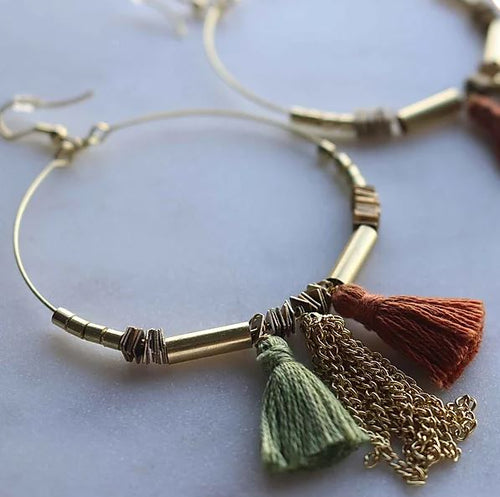 Finders and Makers - Tassle Hoops Earring - Sage and Terracotta - Mandi at Home