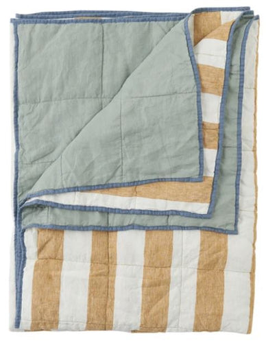 Society of Wanderers - Turmeric Stripe/Wasabi Double Sided Quilt - King