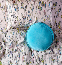 Load image into Gallery viewer, Turquoise Blue Velvet Pea Cushion - Mandi at Home