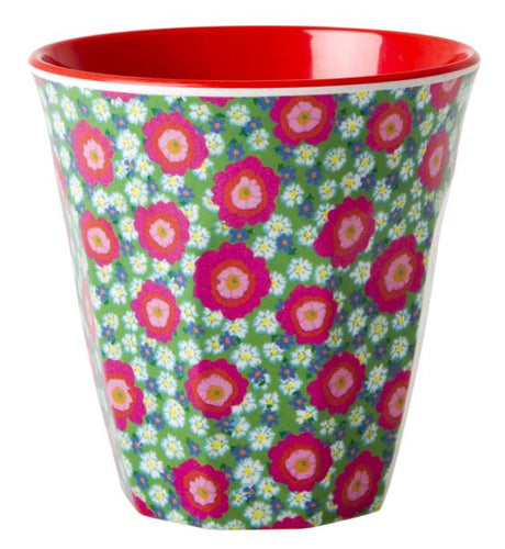 RICE - Medium Melamine Cup in Two Tone Peony Print Red - Mandi at Home