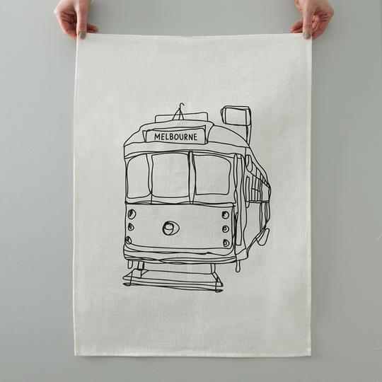 Melbourne Tram Tea towel -  White Linen - Mandi at Home
