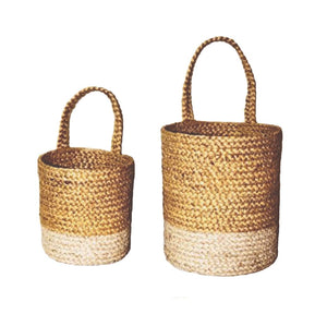 Two-Tone Turmeric Natural Wall Basket - Large - Mandi at Home