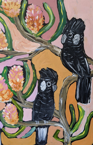 Two Carnaby Cockatoos #2 - Original Art by Bindi Donnelly - Mandi at Home