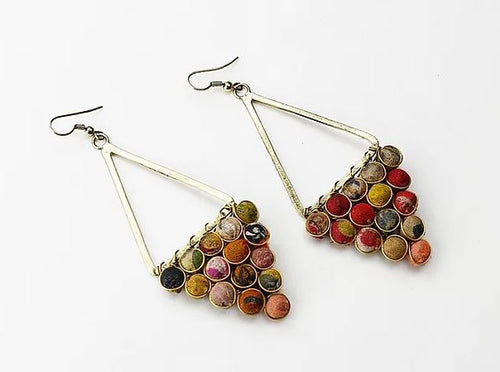 Finders and Makers - Upcycle Textile Pendant Earrings - Mandi at Home