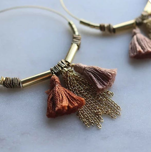 Finders and Makers - Tassle Hoops Earring - Dusty Pink and Terracotta - Mandi at Home