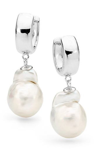 Sterling Silver Nucleated Baroque Pearl Huggy Earrings - Mandi at Home
