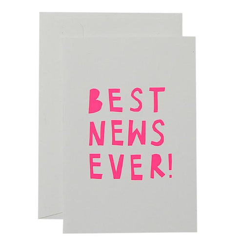 Best News Ever Card - Neon Pink On White - Mandi at Home