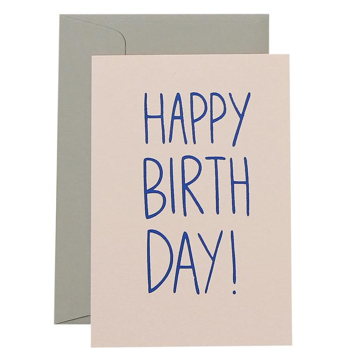 Slim Happy Birthday Card  - Cobolt Blue and Blush - Mandi at Home