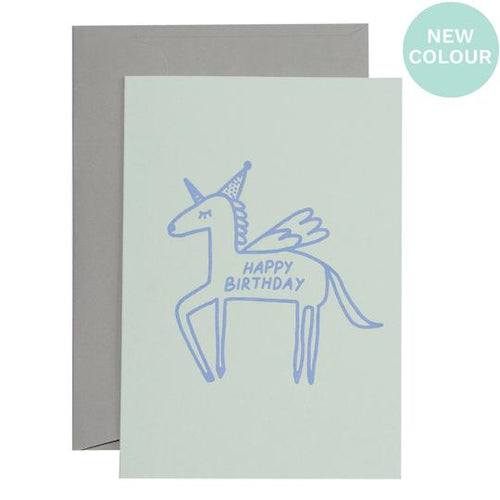 Flying Unicorn Birthday Card - Lavender on Mint - Mandi at Home