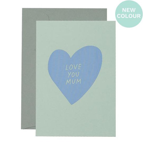 Heart Love You Mum Card - Lavender on Mint - Mandi at Home