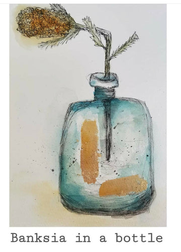 Banksia in a Bottle - Original- Gillian Roulston - Mandi at Home