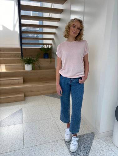 Frankie's Melbourne Lurex Knit Tee - Pale Pink - Mandi at Home