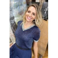 Load image into Gallery viewer, GLITTER V NECK NAVY KNIT - FRANKIES MELBOURNE - Mandi at Home