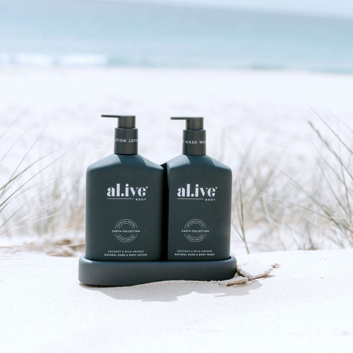 ALIVE BODY-WASH & LOTION DUO + TRAY - COCONUT & WILD ORANGE - Mandi at Home