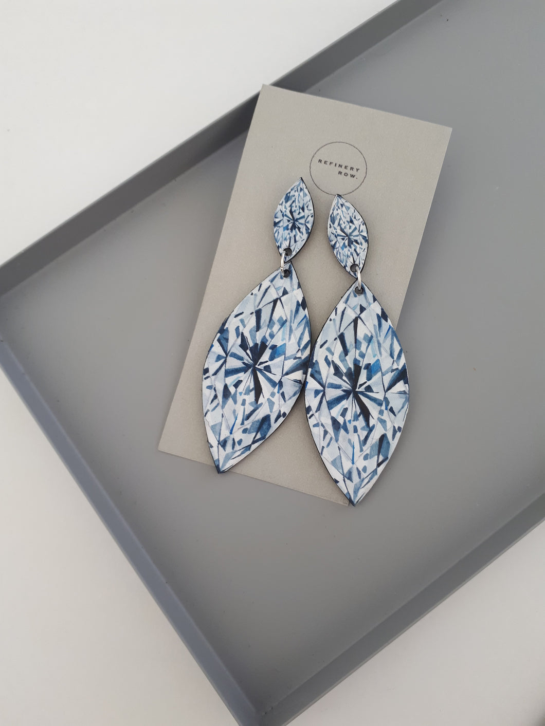 Marquise Cut Diamond illustration Drop Earrings - Mandi at Home
