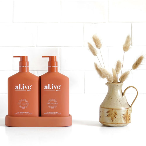 ALIVE BODY- WASH & LOTION DUO + TRAY - FIG, APRICOT & SAGE - Mandi at Home