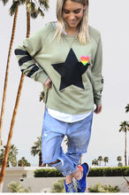 Load image into Gallery viewer, Women's Retro Raw Edge Black Star Sweat - Khaki - Hammill & Co - Mandi at Home