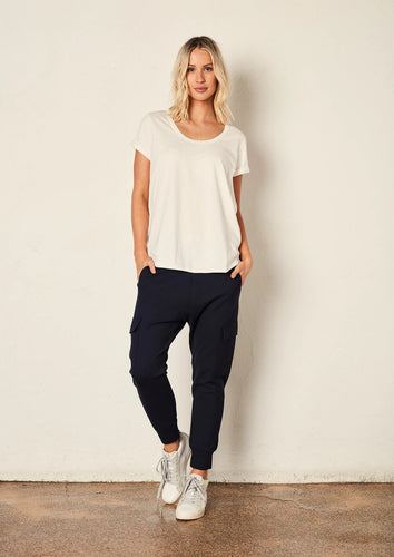 The Staple Deep Relaxed Tee - White - Mandi at Home