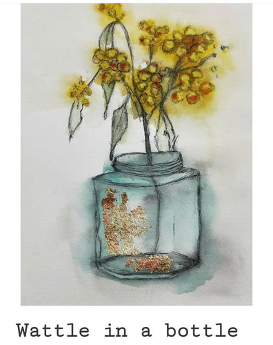 Wattle in a Bottle - Original- Gillian Roulston - Mandi at Home