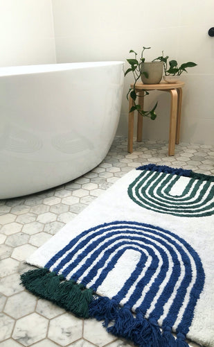 Washable Blue and Green Arches Bath Mat with Tassels - Mandi at Home