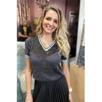 GLITTER V NECK BLACK KNIT - FRANKIES MELBOURNE - Mandi at Home