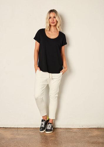 The Staple Deep Relaxed Tee - Black - Mandi at Home