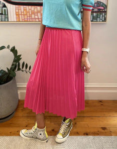 Bec Pleated Skirt - Hot Pink - Mandi at Home