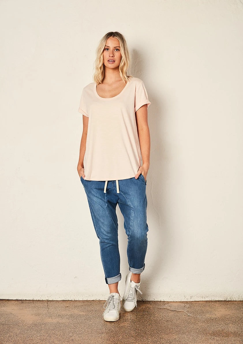 The Staple Deep Relaxed Tee - Pink - Mandi at Home